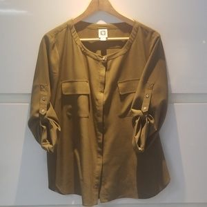 🍂🍂Anne Klein Olive Green Blouse
